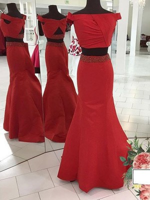 Trumpet Off-the-Shoulder Sweep/Brush Train Ruched Satin Two Piece Evening Dresses