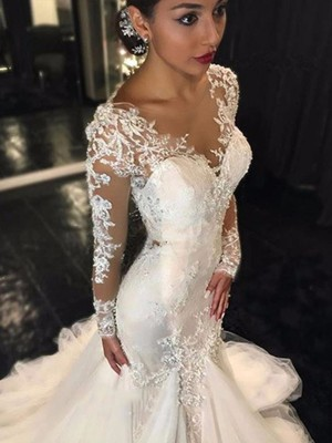 Gorgeous Mermaid V-neck Long Sleeves Lace Court Train Tulle Bridal Dress