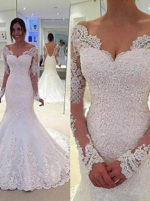 Mermaid V-neck Long Sleeves Lace Court Train Tulle Bridal Gown
