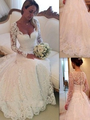 Ball Gown V-neck Long Sleeves Lace Court Train Tulle Wedding Gown