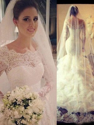Gorgeous Mermaid Scoop Long Sleeves Lace Court Train Tulle Wedding Gown