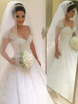 Ball Gown Sleeveless V-neck Beading Floor-Length Tulle Wedding Gown