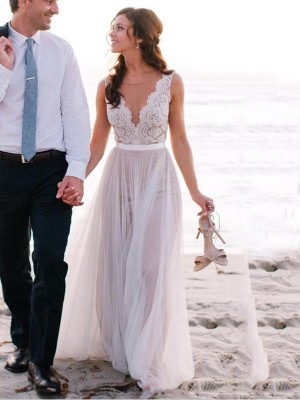 A Line Scoop Sweep/Brush Train Sleeveless Lace Tulle Wedding Dresses