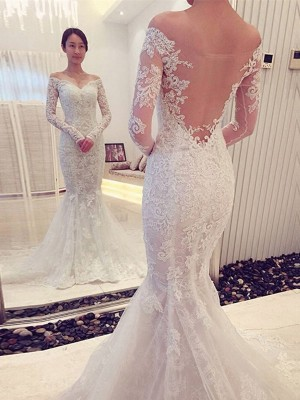 Mermaid Off-the-Shoulder Long Sleeves Lace Chapel Train Dresses For Wedding