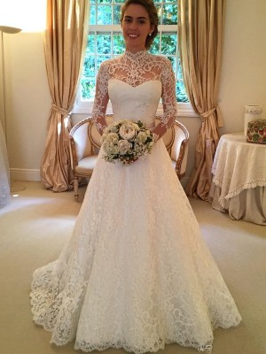 Gorgeous Ball Gown High Neck Long Sleeves Lace Court Train Wedding Gown