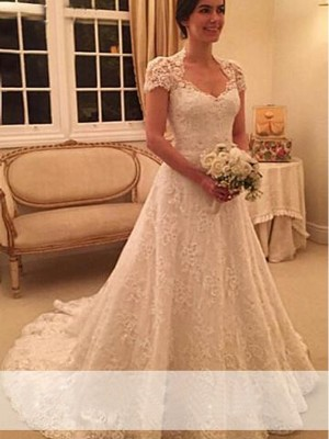 A Line Sweetheart Court Train Short Sleeves Lace Wedding Gown