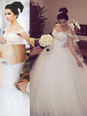 Gorgeous Ball Gown Off-the-Shoulder Sleeveless Lace Court Train Tulle Wedding Gown