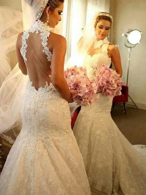 Gorgeous Mermaid High Neck Sleeveless Lace Court Train Wedding Gown