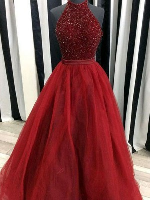 Ball Gown High Neck Sleeveless Floor-Length Beading Organza Prom Gown