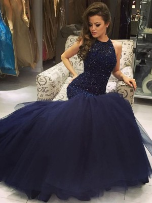 Mermaid Sleeveless Floor-Length Jewel Tulle Beading Formal Wear
