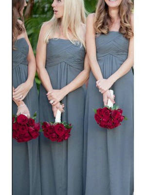A-Line Sleeveless Strapless Ruched Floor-Length Chiffon Bridesmaid Dress