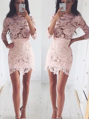Princess 1/2 Sleeves Scoop Lace Short/Mini Homecoming Gowns