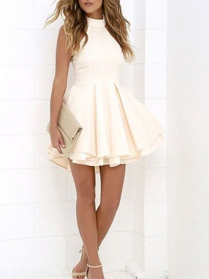 A-Line Sleeveless Halter Satin Short/Mini Women Dress