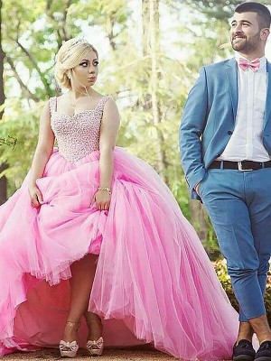 Ball Gown Sleeveless Sweetheart Tulle Sweep/Brush Train Pearls Plus Size Dress