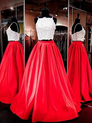 A-Line/Princess Spaghetti Straps Sleeveless Satin Floor-Length Lace Two Piece Prom Gowns