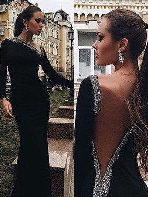 Trumpet/Mermaid Long Sleeves One-Shoulder Spandex Beading Floor-Length Prom Gowns