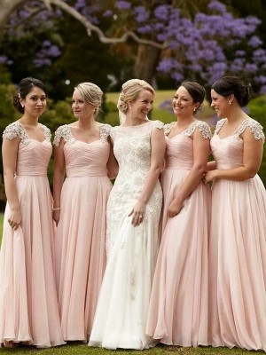 A-Line Short Sleeves Square Beading Chiffon Floor-Length Bridesmaid Dress