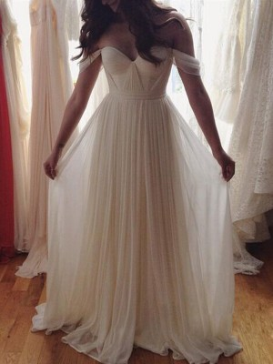 Princess Off-the-Shoulder Beading Floor-Length Chiffon Prom Gown