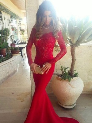 Trumpet Off-the-Shoulder Long Sleeves Lace Sweep/Brush Train Satin Prom Gown