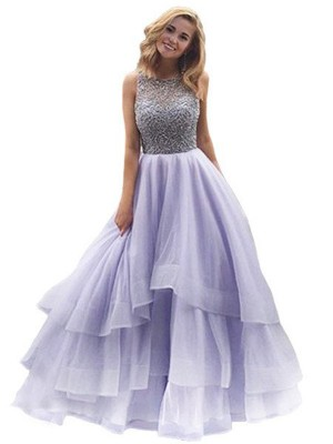 Ball Gown Scoop Floor-Length Beading Organza Party Dress