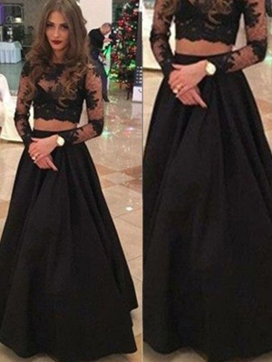 Princess Long Sleeves Scoop Floor-Length Lace Party Dress