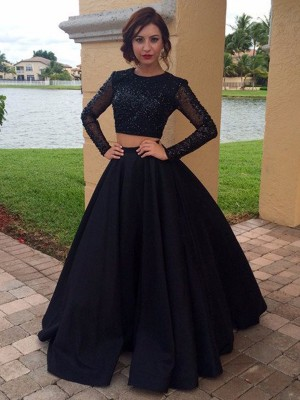 Ball Gown Long Sleeves Scoop Floor-Length Satin Beading Party Dress