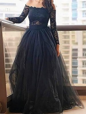 Princess Off-the-Shoulder Long Sleeves Lace Floor-Length Tulle Graduation Dress