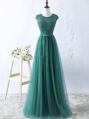 A-Line Scoop Sleeveless Tulle Floor-Length Dresses For Party