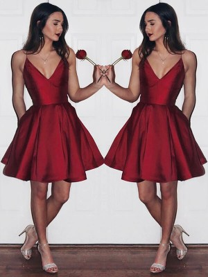 A-Line/Princess Satin Short Dresses