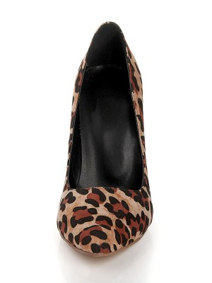 Women's Flock Closed Toe Stiletto Heel With Leopard Print Prom Shoes