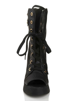Women's Chunky Heel With Lace Up Cattlehide Leather Mid-Calf Boots
