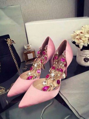Women's Pink Stiletto Heel Satin Closed Toe With Rhinestone Chain Party Shoes