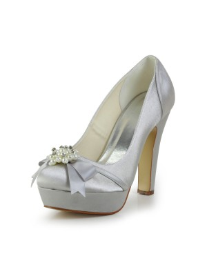 Women's Satin Chunky Heel Closed Toe Platform Wedding Shoes With Bowknot