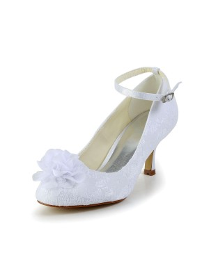 Women's Satin Closed Toe Wedding Shoes With Flower Buckle