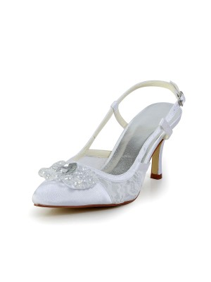 Women's Satin Cone Heel Closed Toe Wedding Shoes With Buckle
