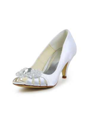 Women's Satin Cone Heel Peep Toe Sandals Wedding Shoes With Hollow-out