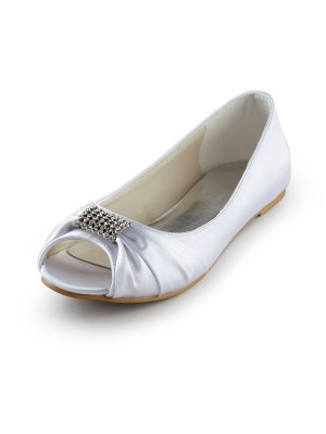 Women's Satin Flat Heel Peep Toe Sandals Wedding Shoes With Rhinestone