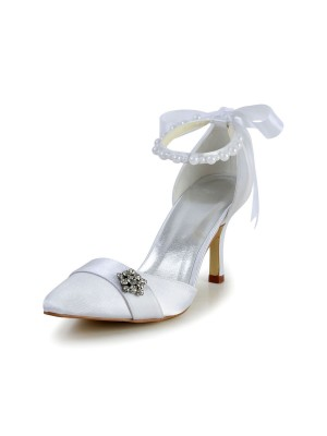 Women's Satin Stiletto Heel Closed Toe Dance Shoes With Pearl