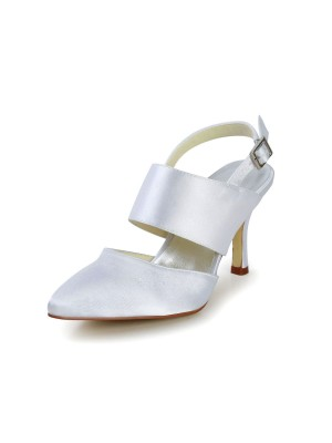 Women's Satin Stiletto Heel Closed Toe With Buckle Wedding Shoes