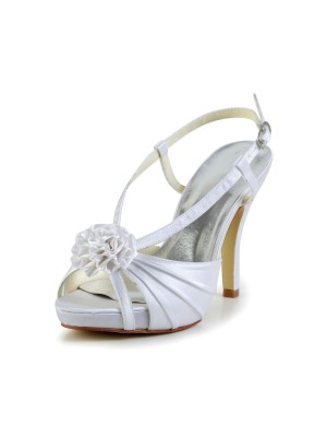 Women's Satin Stiletto Heel Peep Toe Platform Wedding Shoes With Buckle
