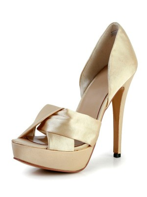 Women's Stiletto Heel Silk Peep Toe Platform Wedding Shoes