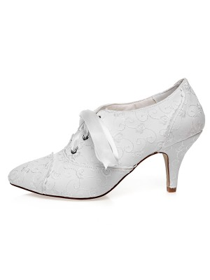 Women's Satin Closed Toe With Silk Cone Heel Wedding Shoes
