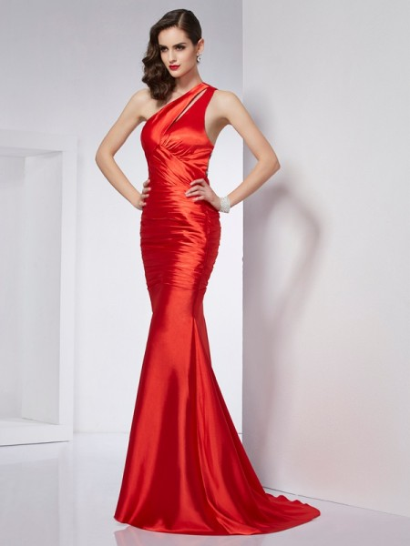 Sheath/Column One-Shoulder Beading Elastic Woven Dress with Satin