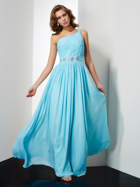 A-Line/Princess One-Shoulder Beading Dress with Chiffon