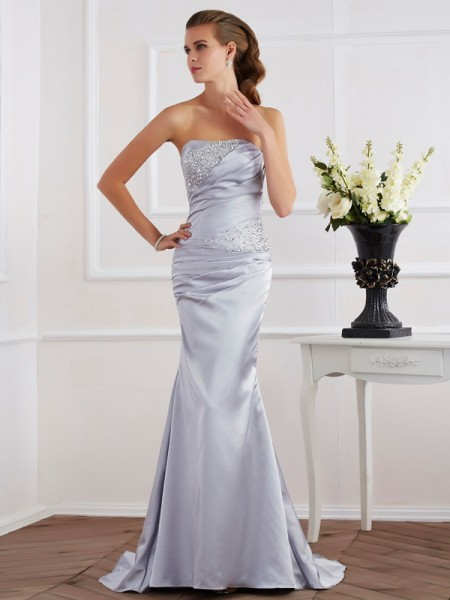 Trumpet/Mermaid Strapless Beading Elastic Woven Dress with Satin