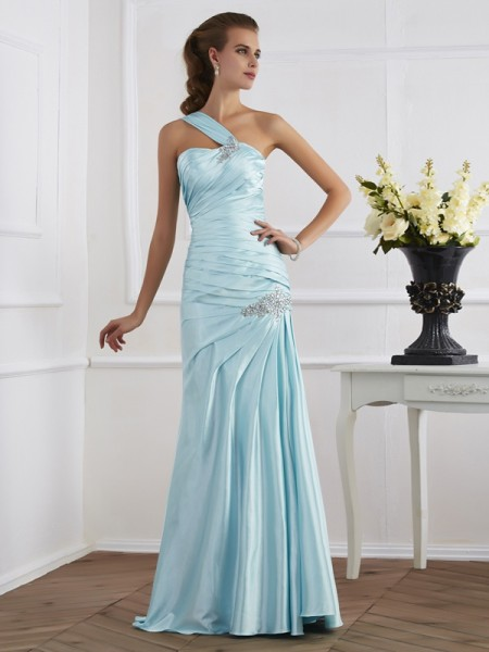 Trumpet/Mermaid One-Shoulder Ruched Long Elastic Woven Satin Dress