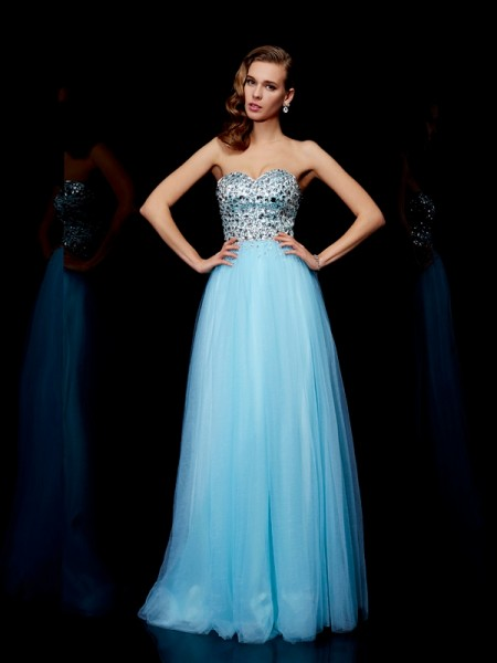 Ball Gown Sweetheart Beading Long Tulle Dress
