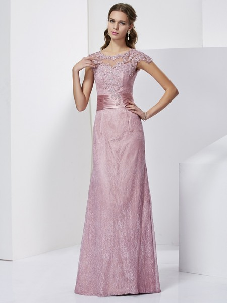 Sheath/Column High Neck Short Sleeves Lace Long Elastic Woven Satin Mother of the Bride Dress