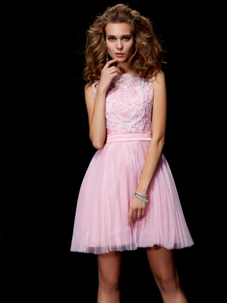 A-Line/Princess Scoop Beading Short Elastic Woven Satin Homecoming Dress
