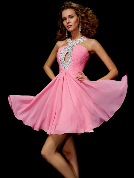 A-Line/Princess V-neck Beading Sequin Short Chiffon Homecoming Dress